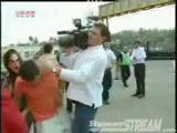 F1's leader Pablo Montoya got hit by some camera man.